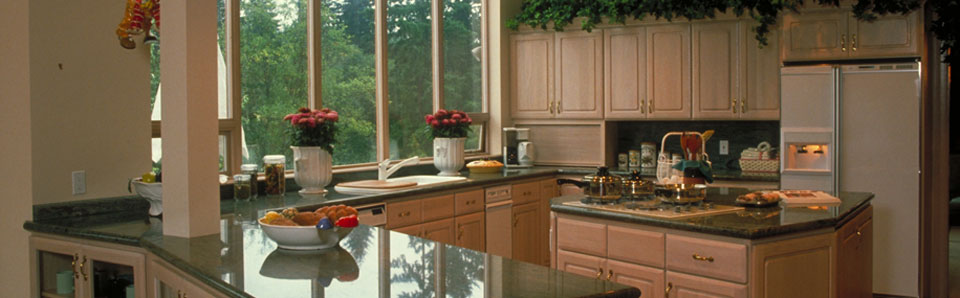 A remodeled kitchen in a , IL home.